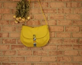 Medium Messenger in Mustard Canvas- Yellow Vegan Satchel Travel Cross Body Purse