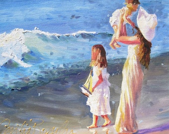 Custom BEACH PAINTING COMMISSIONkids On Beachcustom Paintingoriginal Art By Cecilia