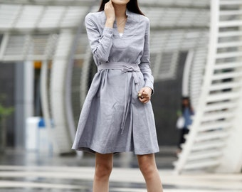 """On Sale Size S Spring Dress Shirt Style Sleeves Loose Fitting """"V"""" Collar Long Linen Dress in Grey- NC464-1"""