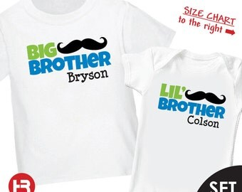 Mustache Big Brother Shirt & Mustache Little Brother Shirt or bodysuit - 2 Personalized Sibling Shirts