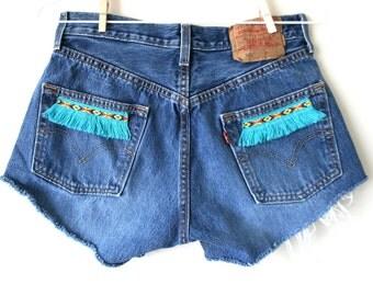"""Waist 30.5"""" Turquoise Tribal Fringe Trim Vintage Levi Cutoff Shorts"""