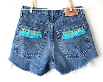 """Waist 29"""" Turquoise Tribal Fringe Trim Vintage Levi Cutoff Shorts"""