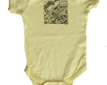 CLE 1942 Downtown Map - Banana Yellow Baby One-Piece