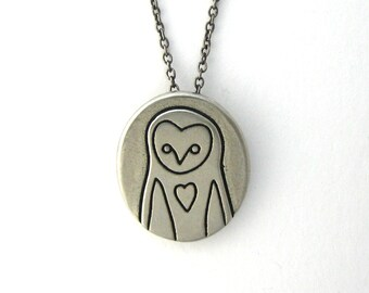 Barn Owl Necklace - Pewter Owl Pendant