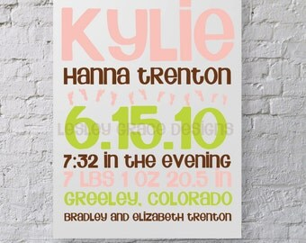 Baby Girl Birth Announcement, Typography Art, 8x10 digital print