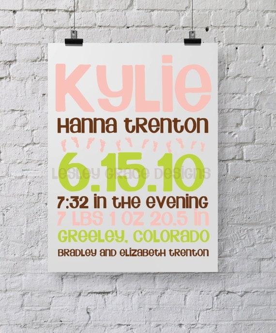 Baby Girl Birth Announcement, Typography Art, 8x10 digital print