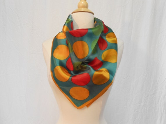 Paoli Kelly Green, Orange & Red Bold Polka Dot Print Silky Scarf / Lrg Square Scarf 26 x 26