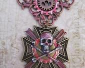 "Steampunk ""Bloody Pirate"" Skull and Crossbones Medal - Airship Pirate / Mercenary / Assassin"