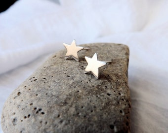 Silver Star Earrings Handcrafted in Recycled Sterling Silver