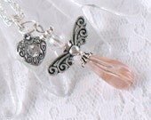Pink Teardrop Angel Necklace - Silver Swirled Wings and Heart Charm - Love - Holiday - Gifts under 20