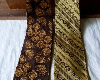 SALE TEN DOLLARS, Vintage 1970's Clip on Neckties, Set of 2, Salem Town Neckties, Retro Mens Accessories