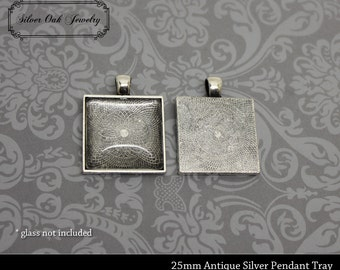 SOJ-047: Set of 20 - 1 inch / 25mm Square Antique Silver Pendant Trays - DIY, pendant kit, square, antique silver, necklace supplies