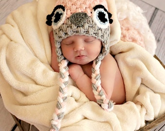 Hooty Owl Hat CROCHET PATTERN instant download - with sleepy, plain eyes, and eyelashes