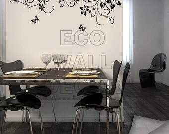 PEEL and STICK Removable Vinyl Wall Sticker Mural Decal Art - Romantic Vine Frame and Dancing Butterflies