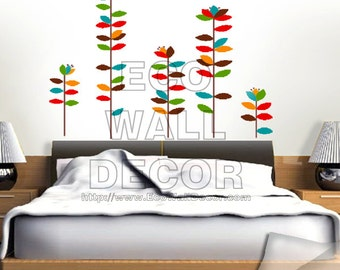 PEEL and STICK Removable Vinyl Wall Sticker Mural Decal Art - Colorful Rainbow Growing Flower Sterms