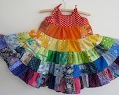 Toddler girl rainbow dress, patchwork twirler, size 2 colourful twirly dress with ruffled layers, red bodice MADE TO ORDER, eco friendly.