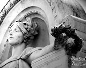 Woman, Statue, Arms Outstretched, Crown, Robe, Arch, Black & White, Atlanta Georgia, Cemetery, Headstone, Photography