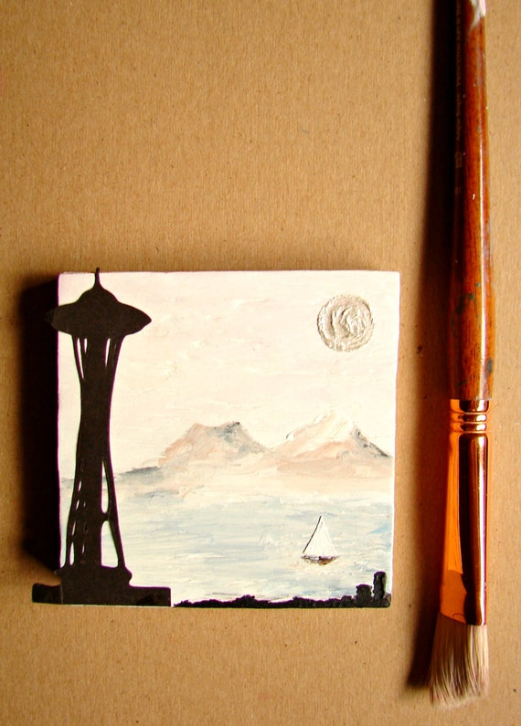 Home Decor, Wall Decor, Boat Decor, Office Desk Decor--Seattle Space Needle Mixed Media Art