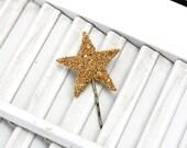 lucky star hair pin / gold german glass star bobby pin /  glitter hair accessory