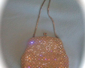 Vintage Aurora Borealis Rhinestone Evening Bag Old Hollywood