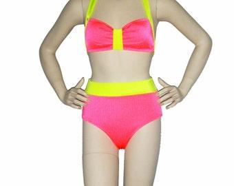 Neon coral and yellow High waisted bathing suit , retro inspired bikini, pinup bikini