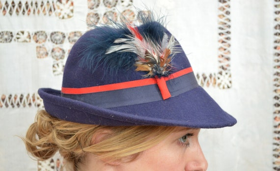 RESERVED Vintage 40's Polish Made Tally Ho Nautical Feathered Robin Hood Hat