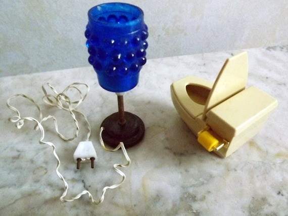 1960s, Mod, Lundby, Blue bubble, floor lamp and mod Tomy toilet