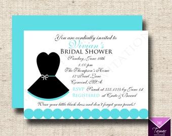 Printable Breakfast at Tiffanys Bridal Shower Invitation , Little Black Dress - with Printable Back