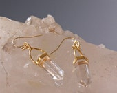Crystal Drop Earrings-Quartz with Gold Vermeil  or Sterling Silver tops