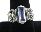 Vintage STERLING Silver, MARCASITE & Blue TOPAZ Ring - Size 9