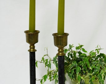 Vintage Black and Brass Candlesticks ....Tall Vintage Candleholders