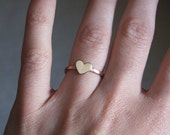 Tiny Brass Heart Copper Ring