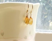 Honey Citrine Drop Earrings . Gold Filled