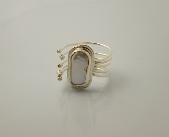 Avant Garde Pearl Ring - Sterling Silver- Adjustable from size  5 to size  10 - Hands Collection