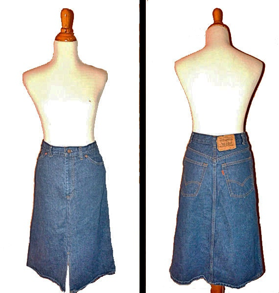 1980s orange tab LEVIS dark denim skirt size 29 waist