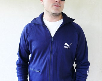 """Vintage mens old-school Puma windcheater/track jacket 1978 - dark blue . . . """"Like"""" our fb page for 10% discount"""