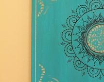 "Teal/Turquoise Mandala Henna Canvas - 12"" X 12"""