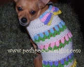 Instant Download Crochet Pattern - Tulips in a Row Dog Spring Sweater - Small Dog Sweater