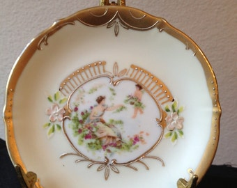 Small Vintage Decorative Plate with Gold Leaf