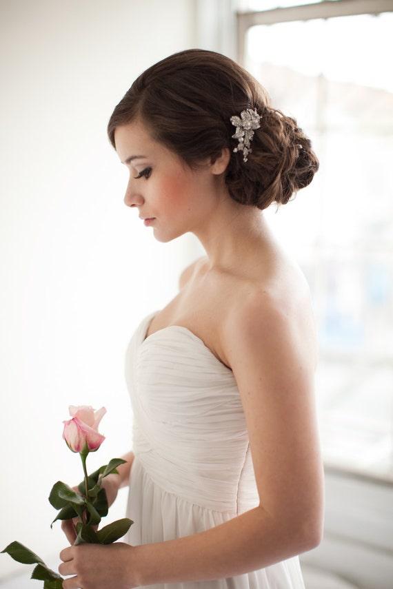 Flower Rhinestone Bridal Comb, Floral Rhinestone Comb, Jeweled Bridal Comb - Marie  MADE TO ORDER