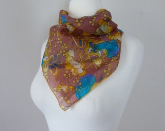 70's Mystical Woman Scarf Folk Psychedelic Magic Novelty Print