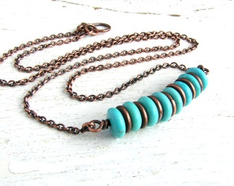 Turquoise Bead Bar Necklace on Copper Chain