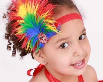 READY TO SHIP: Paradise Parrot Stretchy Feather Headband - Scarlett Macaw Bird Costume Accessory - Fits toddler to adult