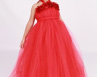 READY TO SHIP:  Flower Girl Tutu Dress - Red - Blazing Beauty - 5-6 Youth Girl - Cutie Patootie Designz