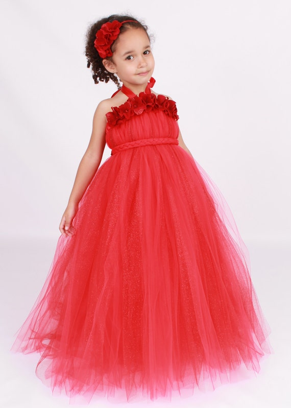Flower Girl Tutu Dress - Red - Blazing Beauty
