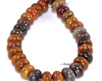 Symphony Ocean Agate Gemstone, Earthy Brown, Rondelle 10X6MM Loose Beads 8 inch Half Strand (90164783-19)