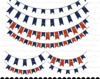 Navy Red Banner clip art - blue ribbon clipart graphics, ribbon bunting scrapbook red  : c0248 3s0326