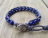 Southwestern Lapis Lazuli Leather Beaded Bracelet with a silver concho clasp