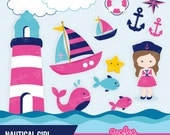NAUTICAL GIRL Digital Clipart, Nautical Clipart , Navy Clipart  / Instant Download