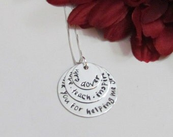 TEACHER  NECKLACE - Personalized  Jewelry - Christmas Gifts from student -l Gift Box Included-Teach Love Inspire- Sterling Silver Chain
